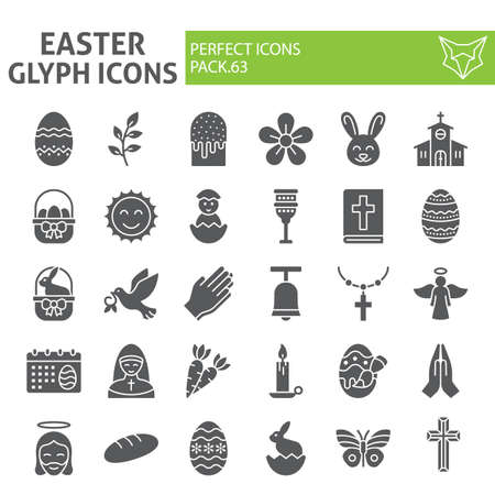 Easter glyph icon set, spring holiday symbols collection, vector sketches, logo illustrations, religion icons, business signs solid pictograms package isolated on white background, eps 10 Ilustracja