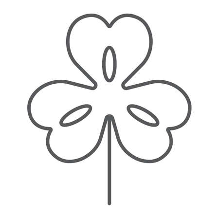 Three leaf clover thin line icon, st patricks day and holiday, clover sign, vector graphics, a linear pattern on a white background