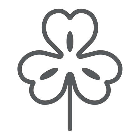 Three leaf clover line icon, st patricks day and holiday, clover sign, vector graphics, a linear pattern on a white background