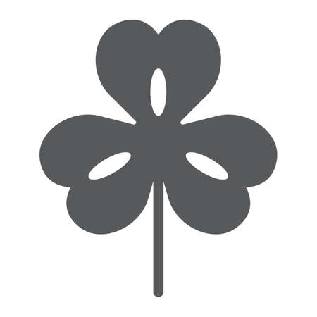 Three leaf clover glyph icon, st patricks day and holiday, clover sign, vector graphics, a solid pattern on a white background 일러스트