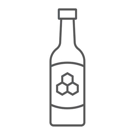 Mead thin line icon, st patricks day and alcohol, honey sign, vector graphics, a linear pattern on a white background Ilustracja