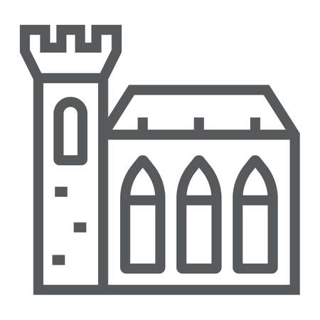 Dublin Castle line icon, st patrick s day and holiday, ireland castle sign, vector graphics, a linear pattern on a white background