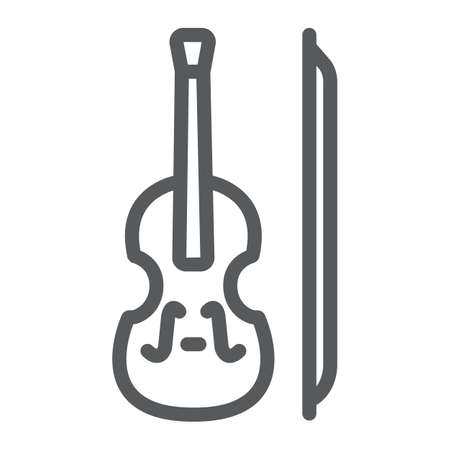 Violin line icon, st patrick s day and music, classical instrument sign, vector graphics, a linear pattern on a white background