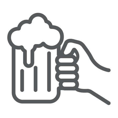 Hand holding a glass of beer line icon, st patrick s day and alcohol, hand hold glass beer sign, vector graphics, a linear pattern on a white background