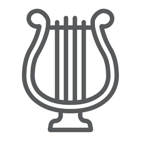 Harp line icon, st patrick s day and music, lyre sign, vector graphics, a linear pattern on a white background Vectores