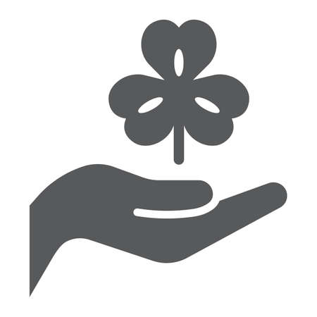 Hand hold lucky clover glyph icon, st patricks day and holiday, hand holding clover sign, vector graphics, a solid pattern on a white background Illustration