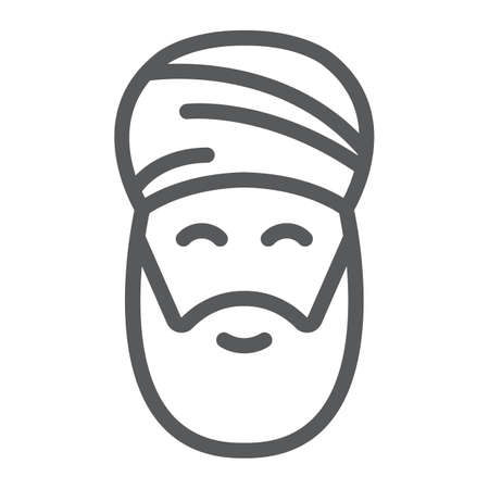 Muslim man line icon, ramadan and islam, arabian sign, vector graphics, a linear pattern on a white background, eps 10.