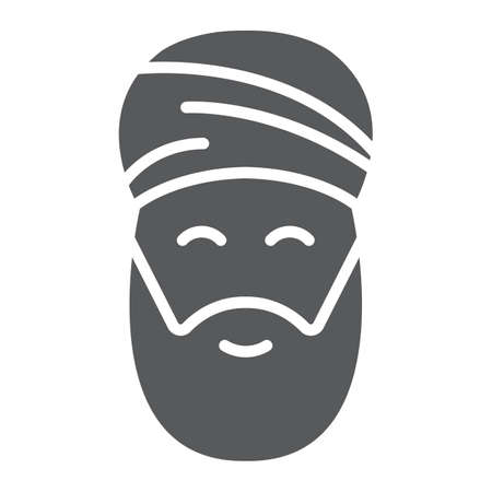 Muslim man glyph icon, ramadan and islam, arabian sign, vector graphics, a solid pattern on a white background, eps 10.