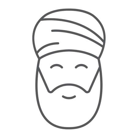 Muslim man thin line icon, ramadan and islam, arabian sign, vector graphics, a linear pattern on a white background, eps 10.