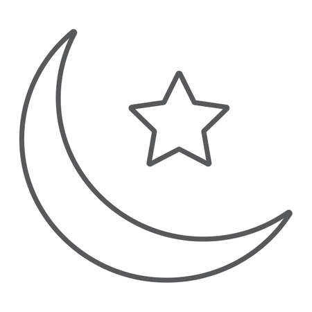 Islamic Crescent thin line icon, ramadan and islam, muslim sign, vector graphics, a linear pattern on a white background, eps 10.