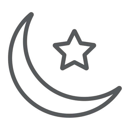 Islamic Crescent line icon, ramadan and islam, muslim sign, vector graphics, a linear pattern on a white background, eps 10.
