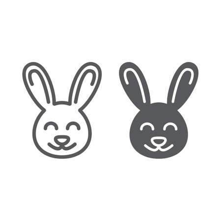 Cute Bunny line and glyph icon, easter and holiday, rabbit sign, vector graphics, a linear pattern on a white background Stock Illustratie