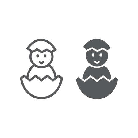 Chick peeking out off egg line and glyph icon, easter and holiday, chick in egg sign, vector graphics, a linear pattern on a white background