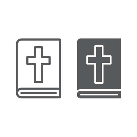 Holy Bible line and glyph icon, religion and prayer, holy book sign, vector graphics, a linear pattern on a white background