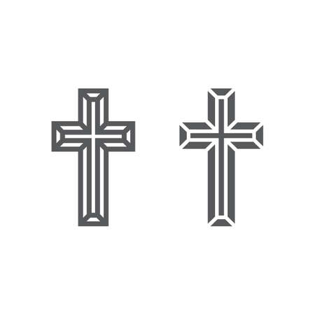 Religious cross line and glyph icon, religion and prayer, christ sign, vector graphics, a linear pattern on a white background