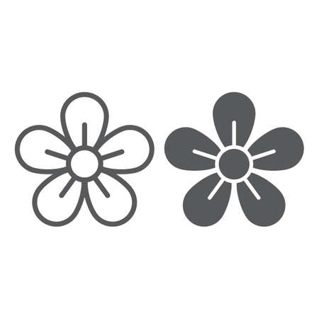 Flower line and glyph icon, easter and summer, floral sign, vector graphics, a linear pattern on a white background