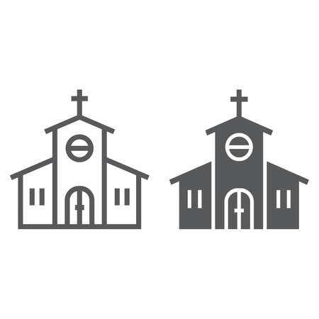 Church line and glyph icon, religion and prayer, religion building sign, vector graphics, a linear pattern on a white background Stock Illustratie