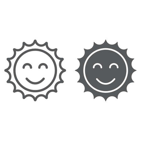 Sun line and glyph icon, easter and summer, smile sun sign, vector graphics, a linear pattern on a white background Stock Illustratie