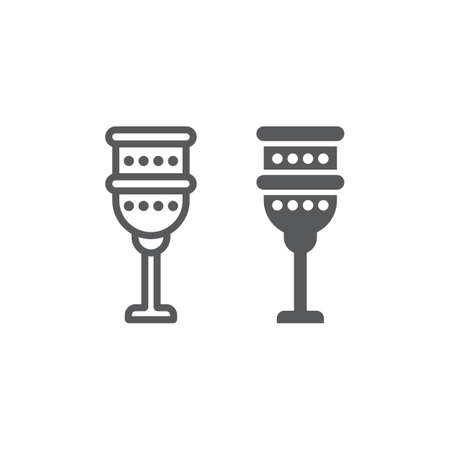 Holy chalice line and glyph icon, religion and prayer, religion cup sign, vector graphics, a linear pattern on a white background