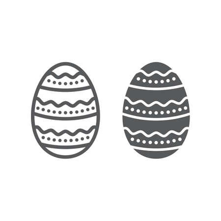 Easter Egg line and glyph icon, easter and holiday, decoration egg sign, vector graphics, a linear pattern on a white background Stock Illustratie
