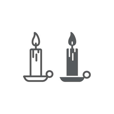 Candle line and glyph icon, religion and prayer, wax sign, vector graphics, a linear pattern on a white background Stock Illustratie
