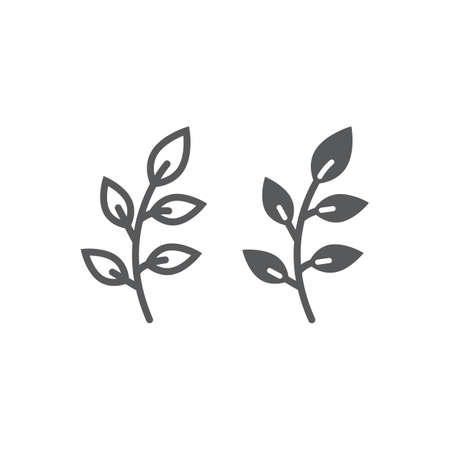Branch line and glyph icon, easter and summer, plant sign, vector graphics, a linear pattern on a white background