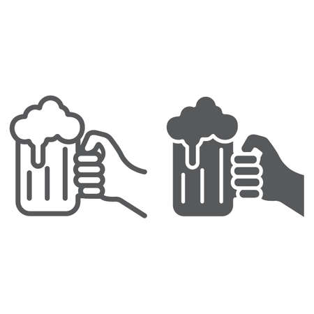 Hand holding a glass of beer line and glyph icon, st patrick s day and alcohol, hand hold glass beer sign, vector graphics, a linear pattern on a white background