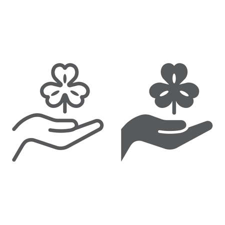 Hand hold lucky clover line and glyph icon, st patrick s day and holiday, hand holding clover sign, vector graphics, a linear pattern on a white background