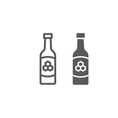Mead line and glyph icon, st patrick s day and alcohol, honey sign, vector graphics, a linear pattern on a white background Çizim