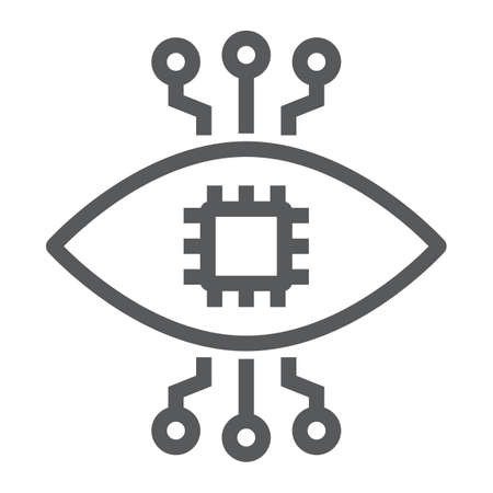 Bionic contact lens line icon, technology and eye, bionic eye sign, vector graphics, a linear pattern on a white background