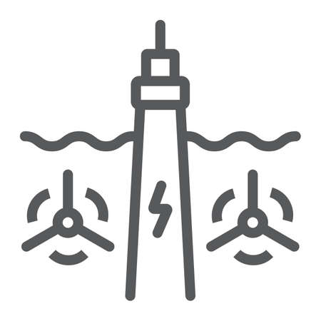 Tidal Power line icon, technology and alternative energy, hydroelectric sign, vector graphics, a linear pattern on a white background, eps 10. Stock Illustratie