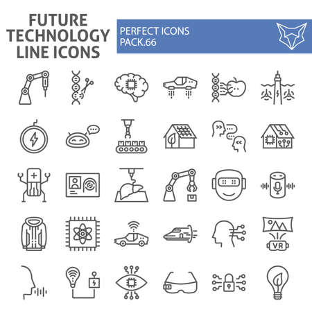 Future technology line icon set, innovation symbols collection, vector sketches, logo illustrations, technologies icons, robotization signs linear pictograms package isolated on white background