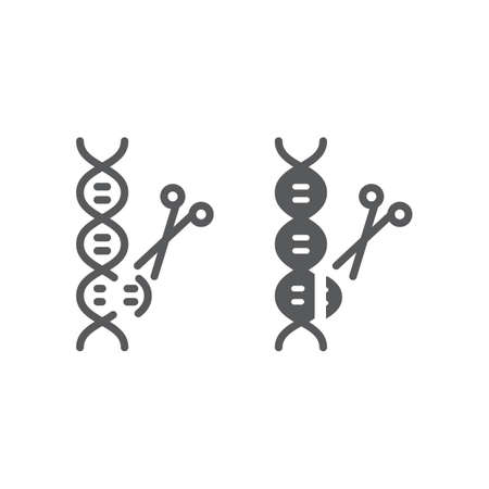 Genome editing line and glyph icon, technology and dna, dna editing sign, vector graphics, a linear pattern on a white background