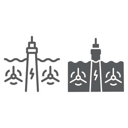 Tidal Power line and glyph icon, technology and alternative energy, hydroelectric sign, vector graphics, a linear pattern on a white background