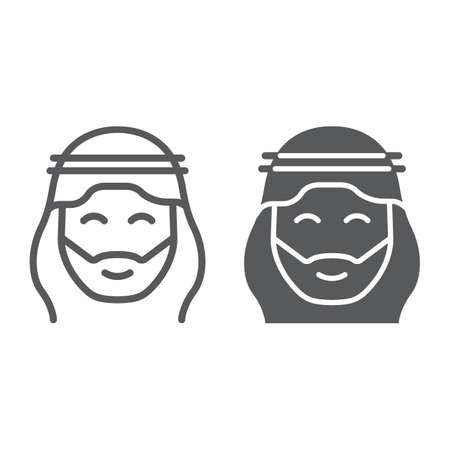 Arab line and glyph icon, ramadan and islam, arabian man sign, vector graphics, a linear pattern on a white background. 向量圖像