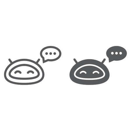 Chatbot line and glyph icon, technology and bot, chatterbot sign, vector graphics, a linear pattern on a white background.