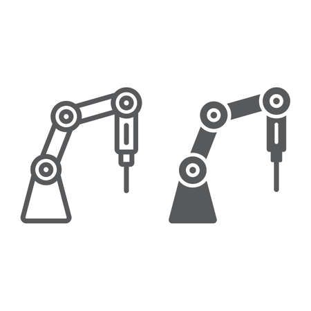 Medical robot line and glyph icon, technology and medicine, surgical robot sign, vector graphics, a linear pattern on a white background.