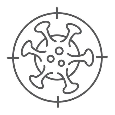 Coronavirus kill thin line icon, virus and microorganism, covid 19 quarantine sign, vector graphics, a linear pattern on a white background.