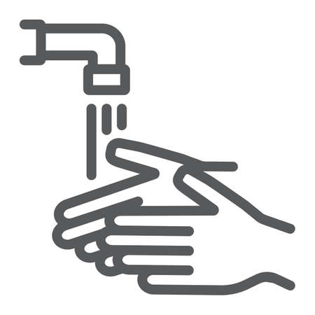 Wash your hands line icon, wash and hygiene, washing hands sign, vector graphics, a linear pattern on a white background Illustration