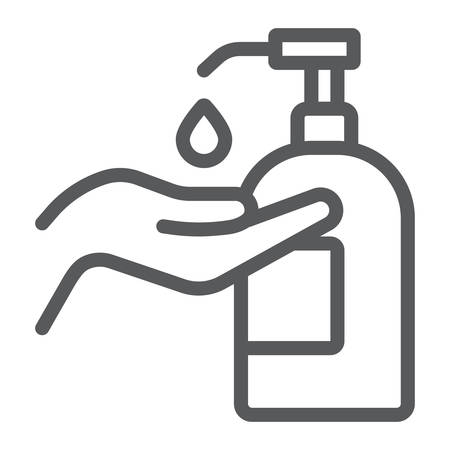 Disinfection soap with hand line icon, wash and hygiene, hand soap sign, vector graphics, a linear pattern on a white background 矢量图片