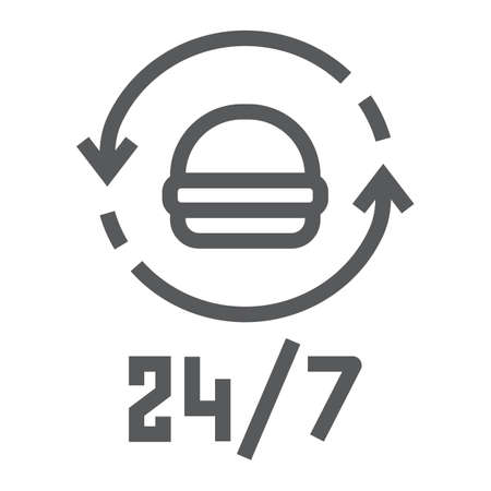 24 7 food delivery line icon, service and delivery, food order sign, vector graphics, a linear pattern on a white background  イラスト・ベクター素材