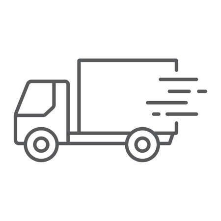Fast shipping delivery thin line icon, logistic and delivery, truck sign vector graphics, a linear icon