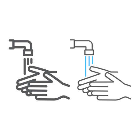 Wash your hands line and color line icon, wash and hygiene, washing hands sign, vector graphics, a linear pattern on a white background, eps 10.