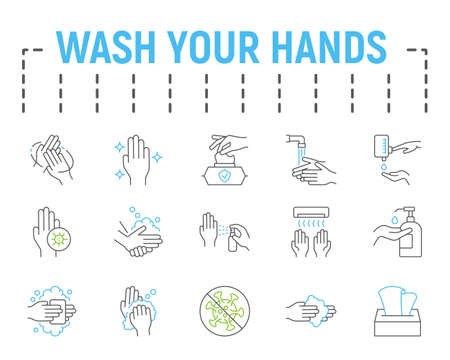 Wash your hands line icon set, health symbols collection, vector sketches, logo illustrations, hygiene icons, stop coronavirus signs linear pictograms package isolated on white background.