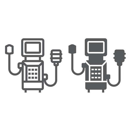 Medical ventilator line and glyph icon, breathing and health, oxygen sign, vector graphics, a linear icon on a white background Vektorové ilustrace