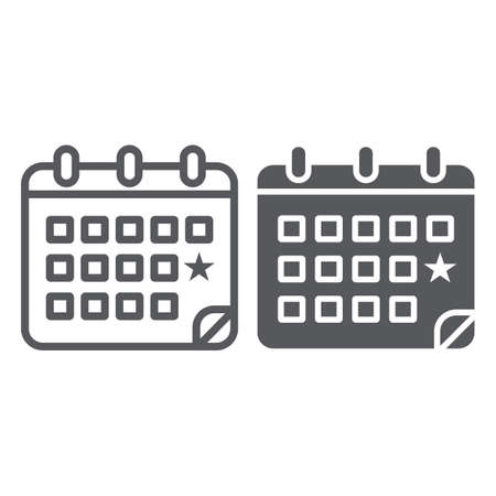 Calendar line and glyph icon, date and day, reminder sign, vector graphics, a linear pattern on a white background.