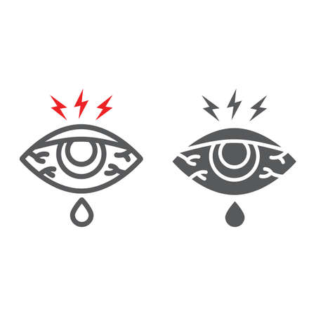 Eye sore line and glyph icon, body and injure, eye redness sign, vector graphics, a linear pattern on a white background. 向量圖像