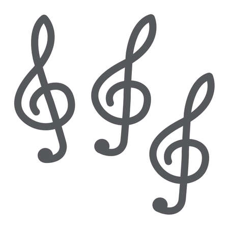 Music clef glyph icon, music and note, music key sign, vector graphics, a solid pattern on a white background.