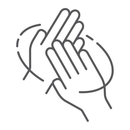 Rub hands palm to palm thin line icon, wash and hygiene, sanitary sign, vector graphics, a linear pattern on a white background.