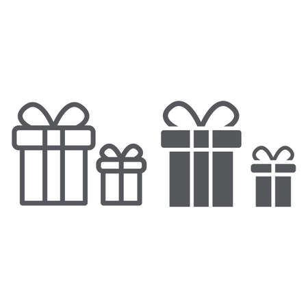 Gift boxes line and glyph icon, package and surprise, presents sign, vector graphics, a linear pattern on a white background. Ilustrace